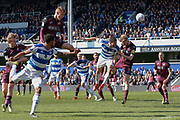 Queens Park Rangers forward Tomer Hemed (16) heads towards goal during the EFL Sky Bet Championship match between Queens Park Rangers and Swansea City at the Loftus Road Stadium, London, England on 13 April 2019.