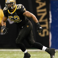 November 28, 2011; New Orleans, LA, USA; New Orleans Saints linebacker Jonathan Casillas (52) against the New York Giants during the second half of a game at the Mercedes-Benz Superdome. The Saints defeated the Giants 49-24. Mandatory Credit: Derick E. Hingle-US PRESSWIRE