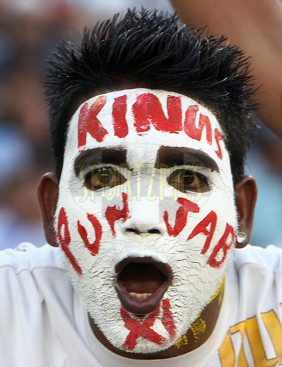 A Kings XI Punjab fan cheer during match 9 of the Indian Premier League ( IPL ) Season 4 between the Kings XI Punjab and the Chennai Super Kings held at the PCA stadium in Mohali, Chandigarh, India on the 13th April 2011..Photo by Money Sharma/BCCI/SPORTZPICS