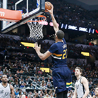 02 April 2017: Utah Jazz center Rudy Gobert (27) goes for the layup during the San Antonio Spurs 109-103 victory over the Utah Jazz, at the AT&T Center, San Antonio, Texas, USA.