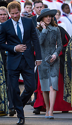 © Licensed to London News Pictures. 14/03/2016. London, UK. PRINCE HARRY and CATHERINE, Duchess of Cambridge leave Westminster Abbey in London after attending a service to mark Commonwealth Day 2016.  Photo credit: Ben Cawthra/LNP