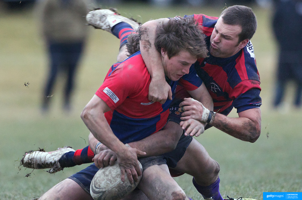 Cam Gray of Maniototo is tackled by Rhys Chamberlain of Arrowtown during the Central Otago Final won by Maniototo who defeated Arrowtown 51-9 at Ranfurly, South Island, New Zealand, 9th June 2011.Photo Tim Clayton