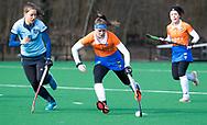BLOEMENDAAL - Sophie Schlatmann (Bldaal)   met links Klaartje Mientjes (Nijm.) hoofdklasse competitie dames, Bloemendaal-Nijmegen (1-1) COPYRIGHT KOEN SUYK
