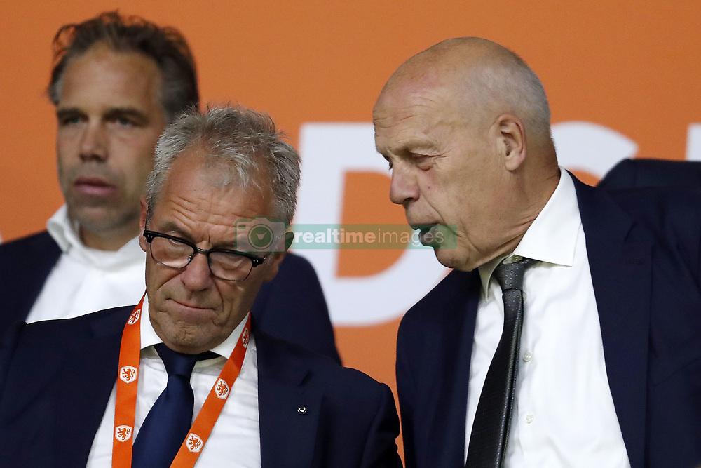 (L-R) KNVB Director of Football Development Art Langeler, KNVB general director Eric Gudde, KNVB chairman of the Supervisory Board Jan Smit during the International friendly match match between The Netherlands and Peru at the Johan Cruijff Arena on September 06, 2018 in Amsterdam, The Netherlands