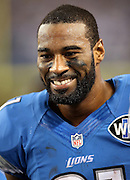 Detroit Lions wide receiver Calvin Johnson (81) smiles on the sideline during the NFL week 18 NFC Wild Card postseason football game against the Dallas Cowboys on Sunday, Jan. 4, 2015 in Arlington, Texas. The Cowboys won the game 24-20. ©Paul Anthony Spinelli