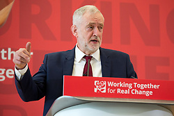© Licensed to London News Pictures. 18/02/2016. Coventry, UK. Labour Local Government Coference, Warwick University, Coventry. Labour Leader JEREMY CORBYN giving a speech at the Slate Building. Photo credit: Dave Warren/LNP