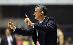 BELGRADE (SERBIA), March 2, 2017  Crvena Zvezda's head coach Dejan Radonjic gestures during Regular Season Round 24 Euroleague basketbal match between Crvena Zvezda and Brose Bamberg in Belgrade on March 2, 2017. Crvena Zvezda won 74:60  (Credit Image: © Predrag Milosavljevic/Xinhua via ZUMA Wire)