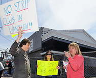 APRIL 9, 2011 - WANTAGH, NY: Protestors against building Strip Club in Wantagh, New York, on Sunrise Highway. In Coral sweatshirt - Claudia Borecky, President of North and Central Merrick Civic Association.