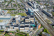 Nederland, Zuid-Holland, Leiden, 09-04-2014; station Leiden centraal, stationsgebied. Links LUMC, Leids Universitair Medisch Centrum.<br /> Central station and surroundings with University Hospital and other university buildings of the city of Leiden.<br /> luchtfoto (toeslag op standard tarieven);<br /> aerial photo (additional fee required);<br /> copyright foto/photo Siebe Swart.