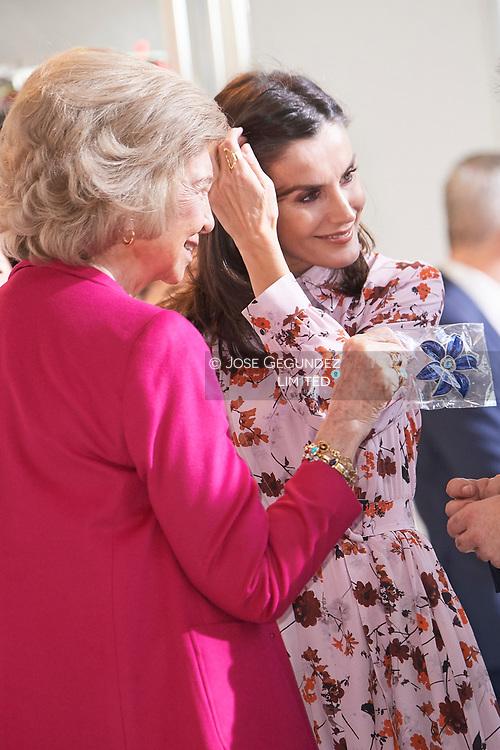 Queen Letizia of Spain, The former Queen Sofia attend 'Rastrillo Nuevo Futuro' on November 19, 2019 in Madrid, Spain