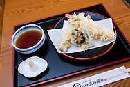 Tempura made by prawns, shiitake mushroom and green chili. Grated daikon radish and grated fresh ginger served together with a tempura sauce.
