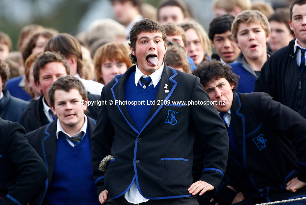 Boys High students return a haka to College. 1st XV Rugby. Christchurch Boys High v Christs College, Rugby Park, Christchurch, New Zealand. Boys High won 8 - 3. Wednesday 1 July 2009. Photo: Simon Watts/PHOTOSPORT