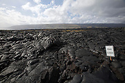 Big Island. Hawai'i Volcanoes National Park. Outer borders of Kilauea's active lava flow (1983-now). Road Closed.