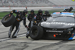 February 23, 2019 - Hampton, GA, U.S. - HAMPTON, GA - FEBRUARY 23:  Crew members for Tyler Reddick, Richard Childress Racing, Chevrolet Camaro Pinnacle Financial Partners (2) service the car during a pit stop in the Xfinity Series Rinnai 250 on February 23, 2019, at Atlanta Motor Speedway in Hampton, GA.(Photo by Jeffrey Vest/Icon Sportswire) (Credit Image: © Jeffrey Vest/Icon SMI via ZUMA Press)