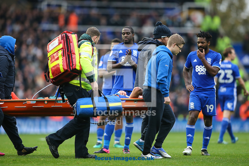 Rhoys Wiggins of Birmingham City is stretchered from the pitch with an injury during the Sky Bet Championship match at St Andrews, Birmingham<br /> Picture by Andy Kearns/Focus Images Ltd 0781 864 4264<br /> 30/10/2016