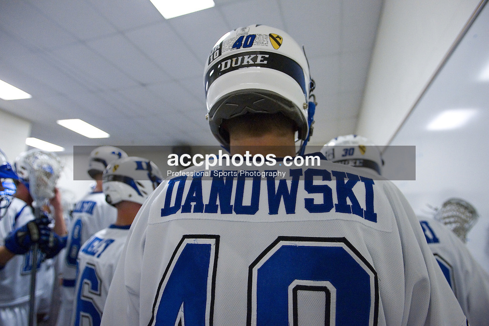 26 May 2007: Duke Blue Devils attackman Matt Danowski (40) in the locker room before the NCAA semifinals to take on the Cornell Big Red at M&T Bank Stadium in Baltimore, MD.