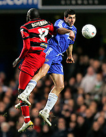 Photo: Tom Dulat.<br /> <br /> Chelsea v Queens Park Rangers. FA Cup Third Round. 05/01/2008. <br /> <br /> Patrick Agyemang of Queens Park Rangers and Tal Ben Haim of Chelsea head for the ball.