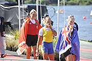 Hamilton, NEW ZEALAND. Medal winners women's Single sculls, left Silver medalist, BLR W1X  Ekaterine KARSTEN, Gold Medalist SWE W1X, Frida SVENSSON and Bronze NZL W1X Emma TWIGG.  at the 2010 World Rowing Championships - Lake Karapiro. Saturday 06.11.2010.  [Mandatory Credit Peter Spurrier:Intersport Images].
