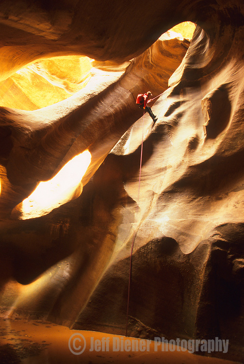 "A man rappells into the ""Cathedral"" while canyoneering in Pine Creek Canyon,  Zion National Park, Utah."