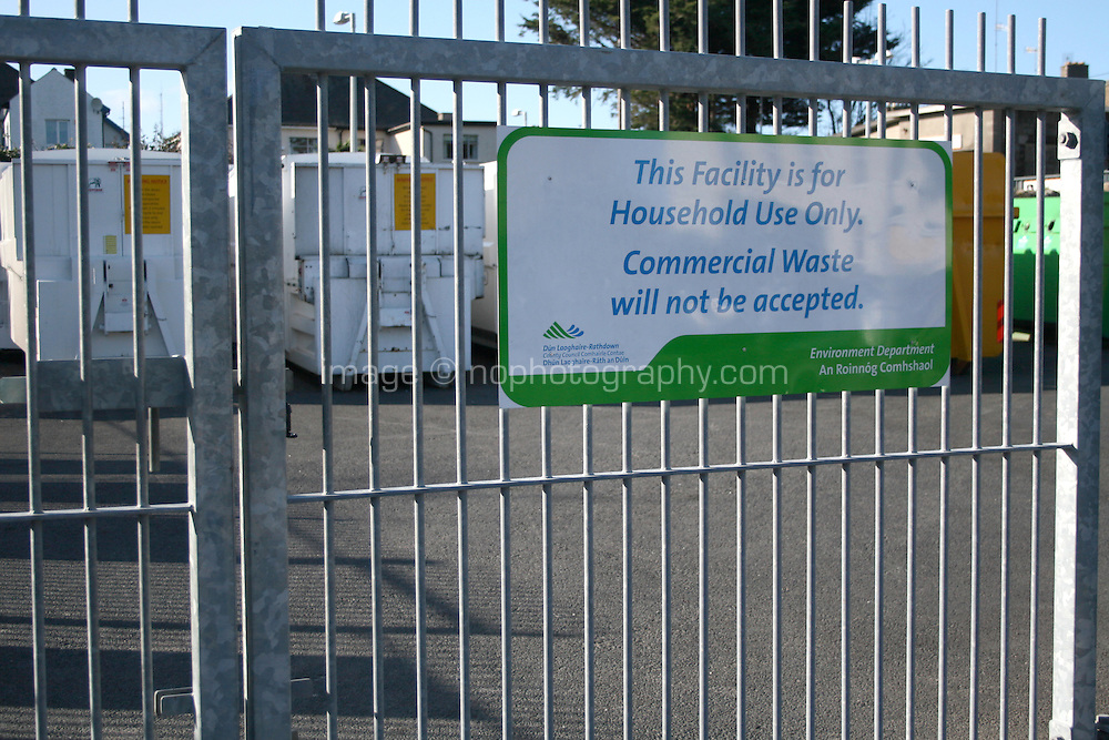 Local county council Glasthule recycling centre in Dublin Ireland