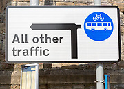 Direction sign for all other traffic except for buses and bicycles, Swindon, Wiltshire, England, UK