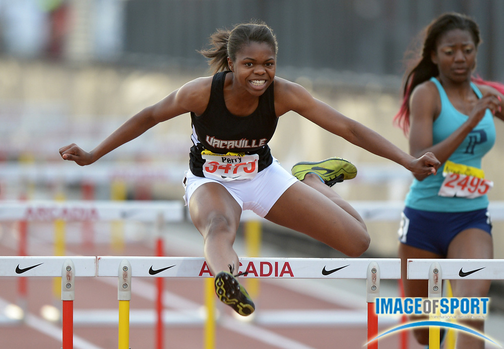 Apr 12, 2014; Arcadia, CA, USA; Pattriana Perry of Vacaville places second in the girls 100m hurdles in 13.67 in the 47th Arcadia Invitational at Arcadia High.
