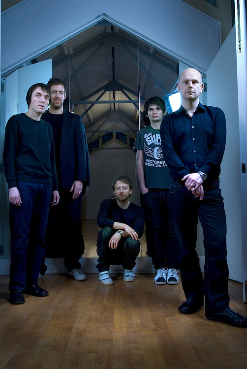UK. Oxford based band Radiohead photographed in the attic of the Oxford Playhouse theatre..From left to right: Colin Greenwood,  Ed O'Brian, Thom Yorke, Jonny Greenwood and Phil Selway..