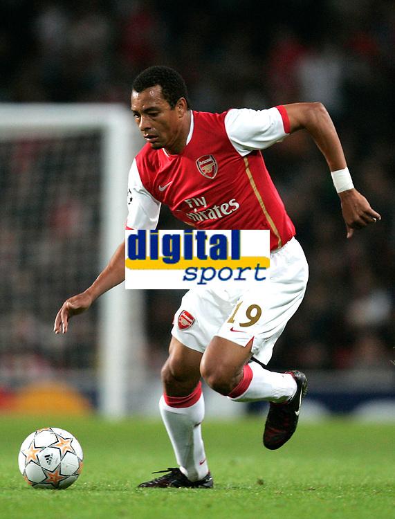 Photo: Tom Dulat.<br /> Arsenal v Slavia Prague. Group H, UEFA Champions League. 23/10/2007.<br /> Gilberto of Arsenal with the ball.