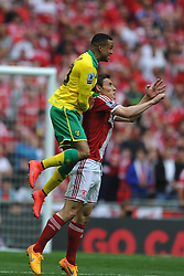 Norwich Martin Olsson, gets above Middlesbrough Jelle Vossen, Middlesbrough v Norwich, Sky Bet Championship, Play Off Final, Wembley Stadium, Monday  25th May 2015