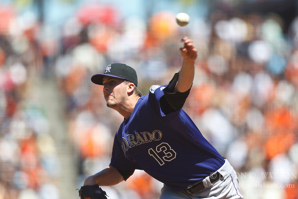 SAN FRANCISCO, CA - AUGUST 11: Drew Pomeranz #13 of the Colorado Rockies pitches against the San Francisco Giants during the third inning at AT&T Park on August 11, 2012 in San Francisco, California. The San Francisco Giants defeated the Colorado Rockies 9-3. (Photo by Jason O. Watson/Getty Images) *** Local Caption *** Drew Pomeranz