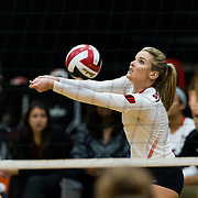 18 November 2017:  The San Diego State women's volleyball team closes out it's season against #24 Colorado State University. San Diego State outside hitter Hannah Turnlund (7) sets the ball during the second set. The Aztecs fell to the Rams in three sets. <br /> www.sdsuaztecphotos.com