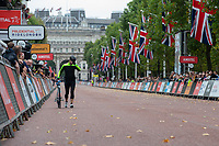 The last finisher on The Mall. The Prudential RideLondon Sportives. Sunday 29th July 2018<br /> <br /> Photo: Andrew Baker for Prudential RideLondon<br /> <br /> Prudential RideLondon is the world's greatest festival of cycling, involving 100,000+ cyclists - from Olympic champions to a free family fun ride - riding in events over closed roads in London and Surrey over the weekend of 28th and 29th July 2018<br /> <br /> See www.PrudentialRideLondon.co.uk for more.<br /> <br /> For further information: media@londonmarathonevents.co.uk