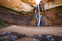 Lower Calf Creek Falls drops 126 feet down into a canyon in the Grand Staircase-Escalante National Monument near Escalante, Utah