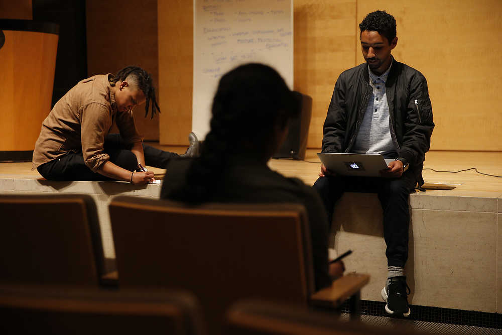 From left: Cecelia Jordan and Arati Warrier rehearse with training from Gabriel Cortez at the San Francisco Public Library's Koret Auditorium, Saturday, Jan. 6, 2018, in San Francisco, Calif. Youth Speaks will be putting on its annual Bringing the Noise event, which commemorates Martin Luther King, Jr. through performances of spoken-word poetry. This year marks both the 20th anniversary of the Bringing the Noise event and the 50th anniversary of MLK's assassination.