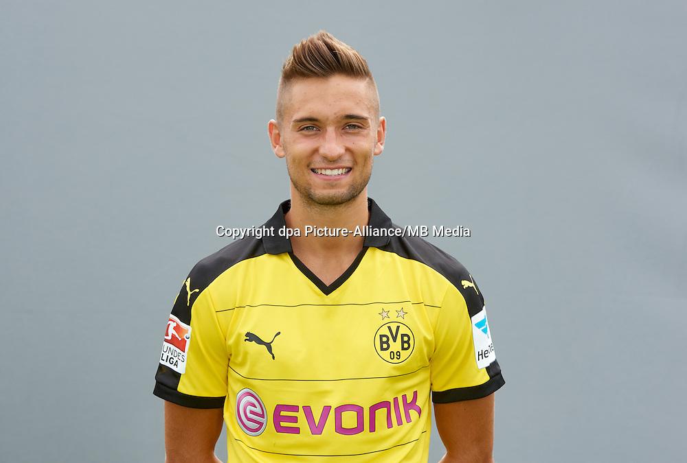 Photocall German Soccer Bundesliga 2015/16 - Borussia Dortmund on 15 July 2015 in Dortmund, Germany: Moritz Leitner