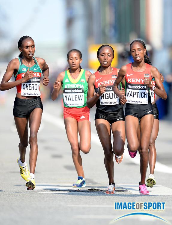Mar 29, 2014; Copenhagen, Denmark; Gladys Cherono (KEN), Genet Yalew (ETH), Mary Ngugi (KEN) and Selly Kaptich (KEN) compete in the IAAF/AL-Bank World Half Marathon Championship. Cherono won in 1:07.29. Ngugi was second in 1:07:44 and Kaptich was third in 1:07:52. Photo by Jiro Mochizuki
