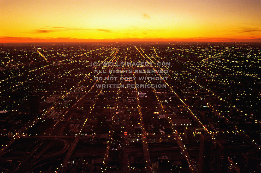 Image of Chicago, Illinois from Willis Tower looking west at sunset, American Midwest