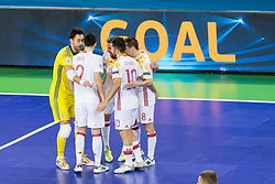 Players of National team of Spain celebrate goal during futsal quarterfinal match between National teams of Ukraine and Spain at Day 8 of UEFA Futsal EURO 2018, on February 6, 2018 in Arena Stozice, Ljubljana, Slovenia. Photo by Urban Urbanc / Sportida