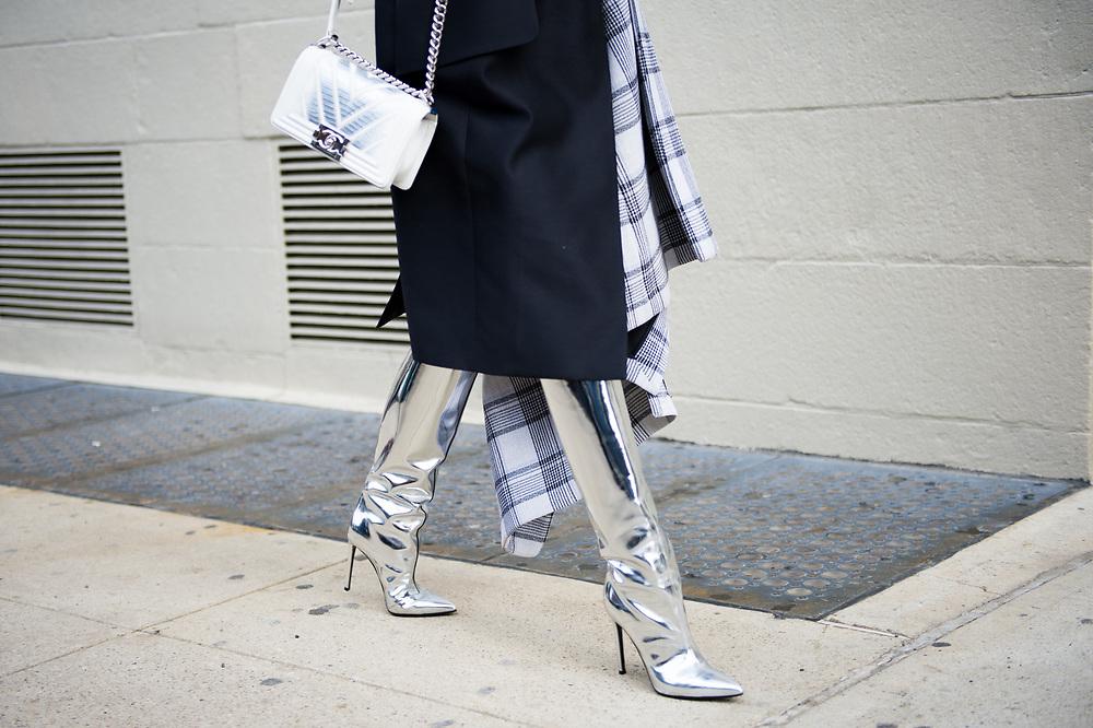 Chanel Bag and Silver Boots, Outside Carolina Herrera FW2017