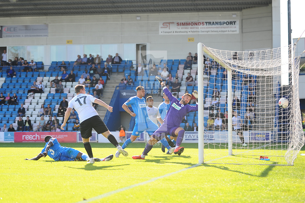 TELFORD COPYRIGHT MIKE SHERIDAN GOAL. Lewis Reilly of Telford scores to make it 1-3  during the National League North fixture between AFC Telford United and Chester FC at the New Bucks Head on Saturday, September 14, 2019<br /> <br /> Picture credit: Mike Sheridan<br /> <br /> MS201920-018