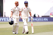 Jonny Bairstow and Alistair Cook walk off for lunch during day three of the Australia v England fourth test at the Melbourne Cricket Ground, Melbourne, Australia on 28 December 2017. Photo by Mark  Witte.