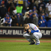 Anthony Rizzo, Chicago Cubs, reacts after striking out during the MLB NLCS Playoffs game two, Chicago Cubs vs New York Mets at Citi Field, Queens, New York. USA. 18th October 2015. Photo Tim Clayton