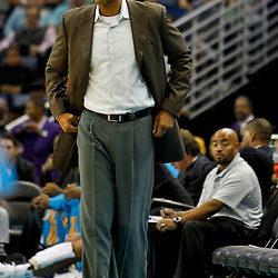 December 21, 2011; New Orleans, LA, USA; New Orleans Hornets head coach Monty Williams against the Memphis Grizzlies during a preseason game at the New Orleans Arena.   Mandatory Credit: Derick E. Hingle-US PRESSWIRE