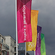 Olympic flags at the Athletes village, Olympic Park, Stratford during the London 2012 Olympic games. London, UK. 19th July 2012. Photo Tim Clayton