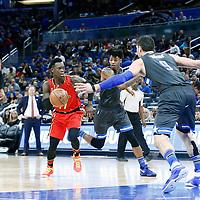 25 February 2017: Atlanta Hawks guard Dennis Schroder (17) drives past Orlando Magic guard Elfrid Payton (4) during the Orlando Magic 105-86 victory over the Atlanta Hawks, at the Amway Center, Orlando, Florida, USA.