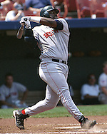 Boston Red Sox Mo Vaughn during game action against the Kansas City Royals at Kauffman Stadium in Kansas City, Missouri in 1997.