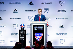 January 11, 2019 - Chicago, IL, U.S. - CHICAGO, IL - JANUARY 11: John Nelson greets MLS commissioner Don Garber after being selected as the number ten overall pick to FC Dallas in the first round of the MLS SuperDraft on January 11, 2019, at McCormick Place in Chicago, IL. (Photo by Patrick Gorski/Icon Sportswire) (Credit Image: © Patrick Gorski/Icon SMI via ZUMA Press)