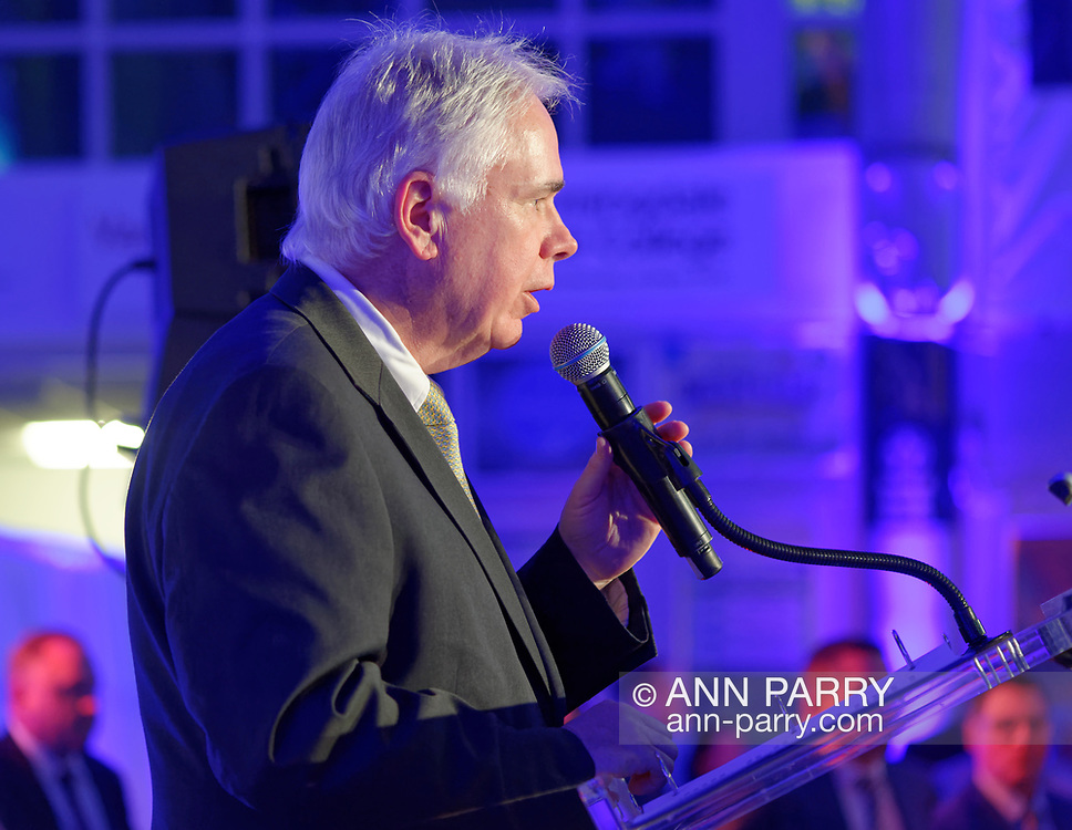 Garden City, New York, U.S.  November 14, 2019. L-R, ANDREW PARTON, President of Cradle of Aviation, is at podium to announce entertainment at the 17th Annual Cradle of Aviation Museum Air and Space Gala.