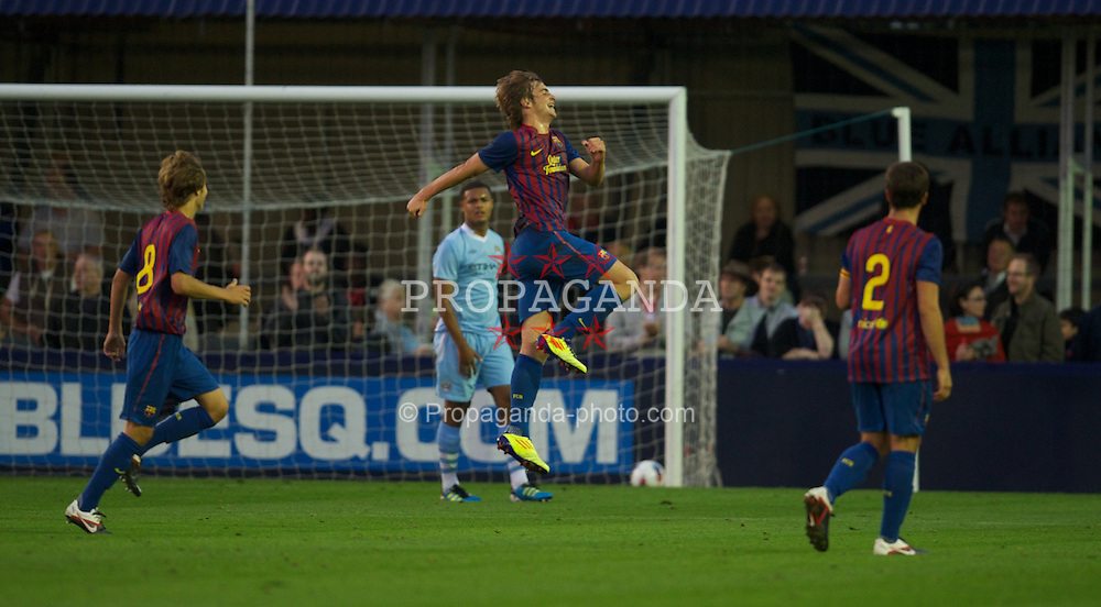 HYDE, ENGLAND - Thursday, September 15, 2011: Barcelona's Miguel Angel Sainz Maza celebrates scoring the first goal against Manchester City during the NextGen Series Group 1 match at Ewen Fields. (Pic by David Rawcliffe/Propaganda)