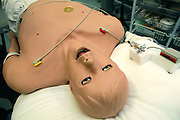 One of the 'Patient Simulators' is lying on the operation bed at the ExPERT Centre, a new wing of the University of Portsmouth, on Wednesday, March 28, 2007, in Portsmouth, England. The 'Patient Simulators' can bleed, breathe, drool and even speak, and are being used by students at the state-of-the-art new training centre. They cost 270.000 USD each and are able to simulate all sort of acute conditions, including heart attacks. The 'Patient Simulators' are housed at a $9 million USD centre which opened few weeks ago. Students and professionals from different health-care disciplines simulates conditions to then act and provide the right treatment, while the 'patient' will react accordingly. www.port.ac.uk/expertcentre  **Italy Out**...